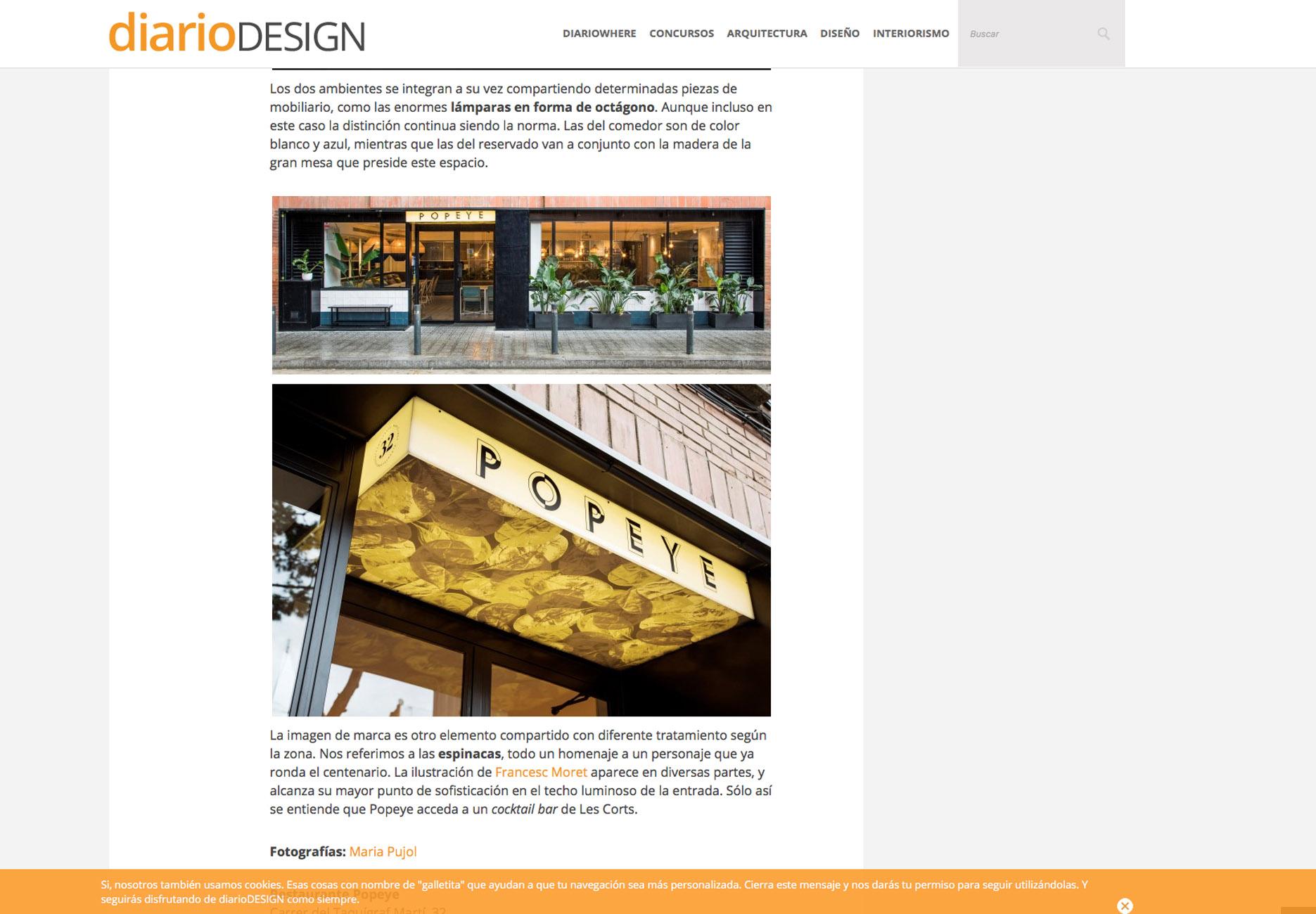 """Diario Design publicación """"Popeye"""""""